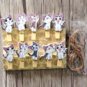 """10 mini pinces à linge """"chats kawaii"""" en bois"""