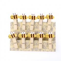 """10 mini pinces à linge """"abeilles"""" en bois"""