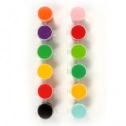 Lot de 12 godets de peinture acrylique