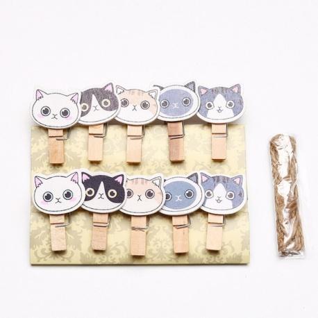 """10 mini pinces à linge """"Têtes de chats"""" en bois"""