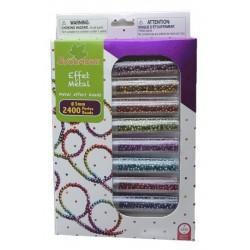 Coffret perles de rocaille effet métal 8 tubes Sycomore