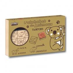 Coffret tampons bois L'alphabet des animaux, Crealign