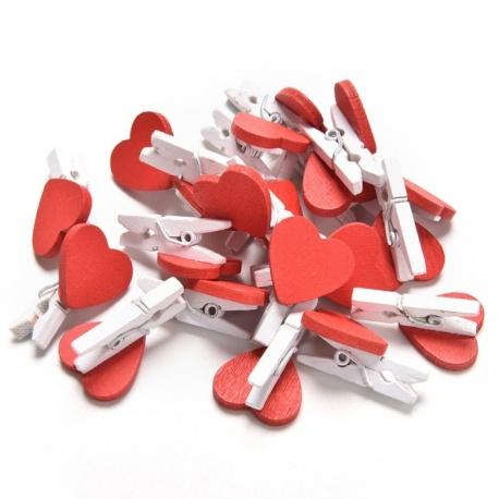 20 mini pinces à linge coeur en bois