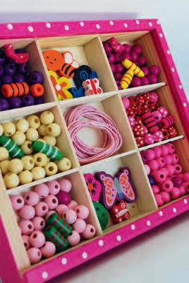Coffret perles en bois rose
